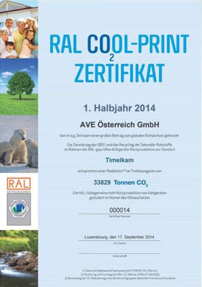 RAL COOL-Print Zertifikat AVE Österreich GmbH