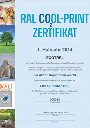 RAL COOL-Print Zertifikat ECOTREL