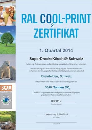 RAL COOL-Print Zertifikat SuperDecksKescht Schweiz